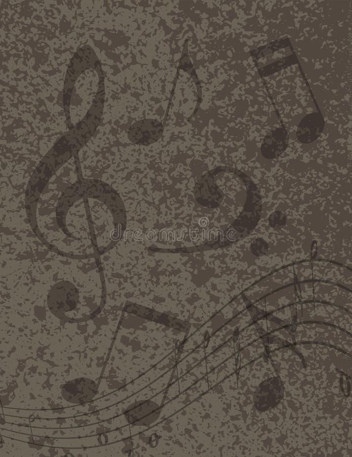 Musikalische Anmerkungen über strukturierte Hintergrund-Illustration vektor abbildung
