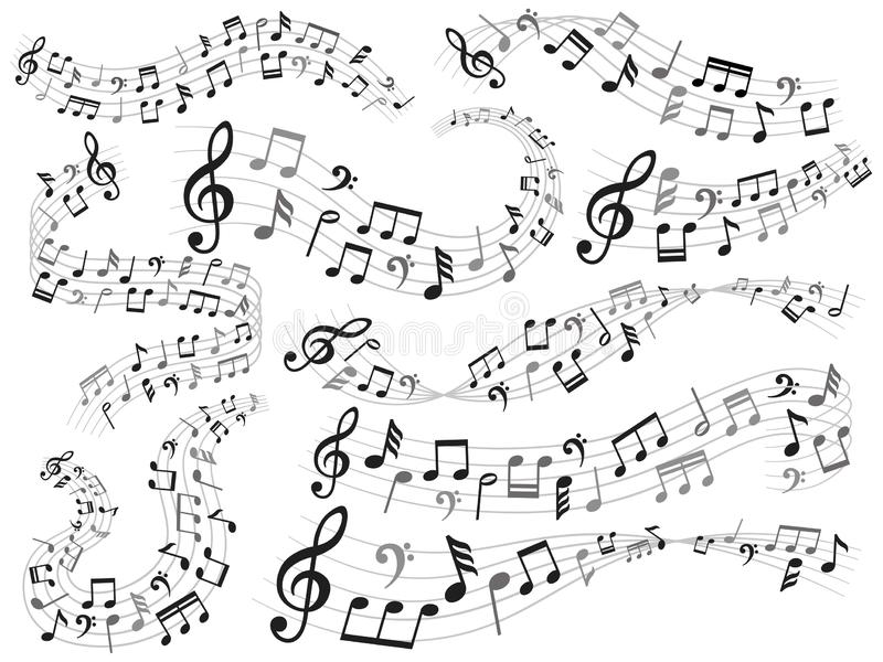 Musikalische Anmerkungen Musikanmerkungsstrudel, Melodienmuster und Schallwellen mit Anmerkungsvektor-Illustrationssatz lizenzfreie abbildung