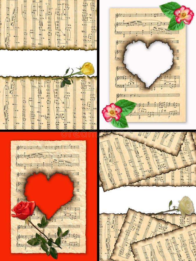 Musikalische Anmerkungen und Rosen. lizenzfreie abbildung