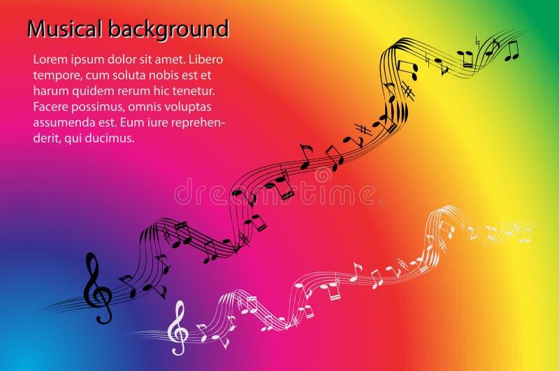 Musikalische Anmerkungen und Violinschlüssel auf einem abstrakten Regenbogen färben Hintergrund lizenzfreie abbildung