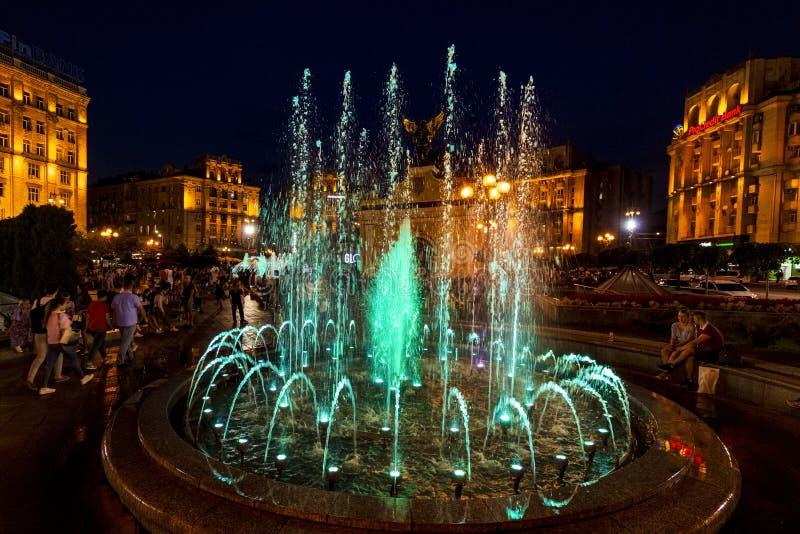Musikalische Brunnen Maidan Platz Kiew Ukraine Wahrzeichen lizenzfreies stockfoto