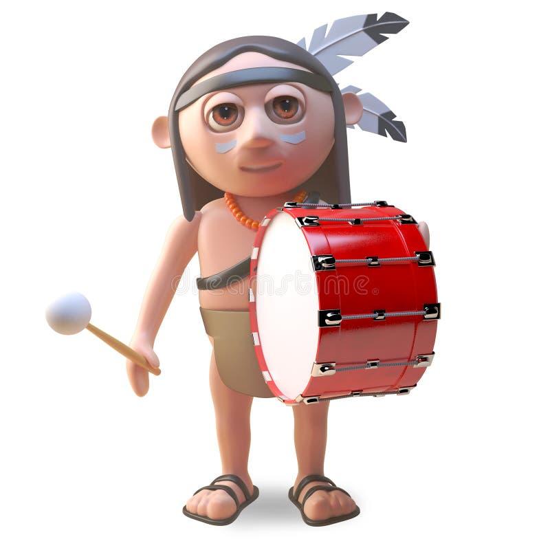 Musikalische gebürtige indianische Schläge auf einer großen Trommel, Illustration 3d vektor abbildung