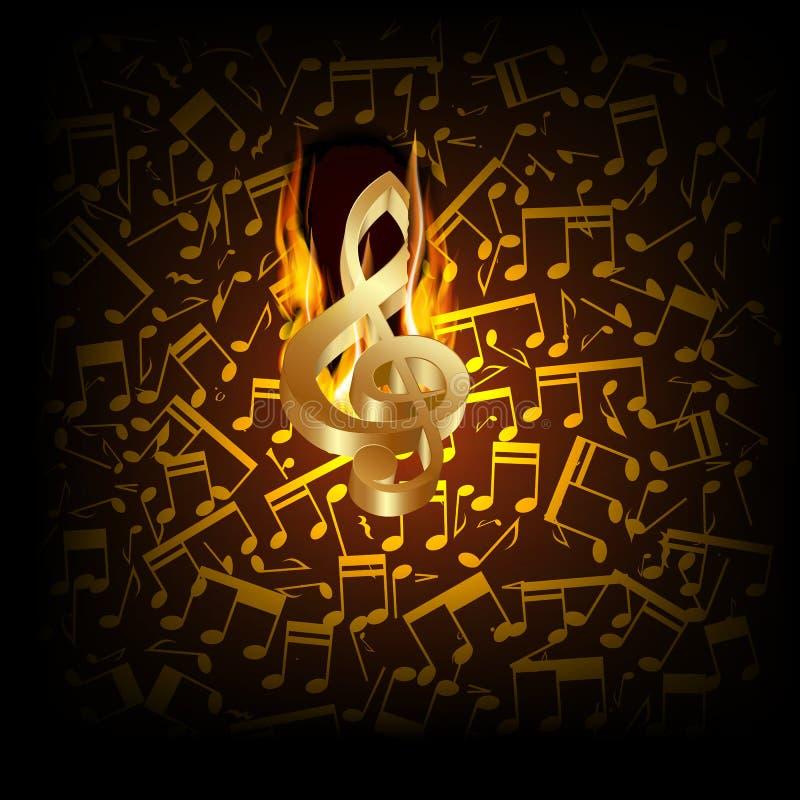 Musikalische Hintergrundfeuerschneise mit einem Violinschlüssel lizenzfreie abbildung