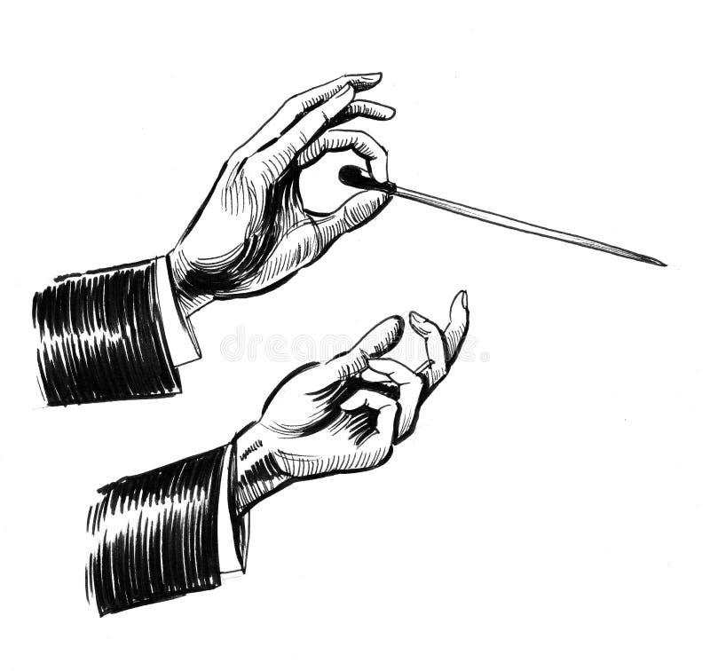 Musikalische Leiter ` s Hände stock abbildung