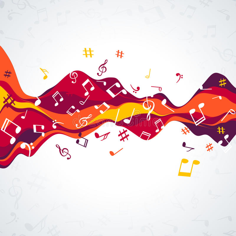 Musikalische Schallwelle mit Anmerkungen Bunte Musikhintergrundwelle stock abbildung