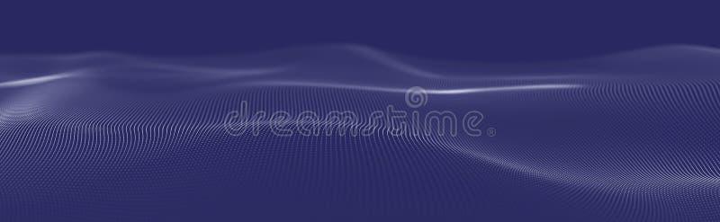 Musikalische Welle von Partikeln Solide strukturelle Verbindungen Abstrakter Hintergrund mit einer Welle von leuchtenden Partikel lizenzfreie abbildung