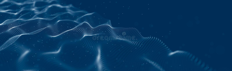 Musikalische Welle von Partikeln Solide strukturelle Verbindungen Abstrakter Hintergrund mit einer Welle von leuchtenden Partikel stockfotos