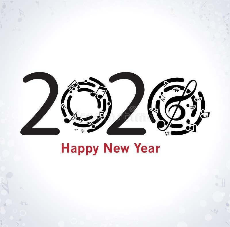 Musikalischer guten Rutsch ins Neue Jahr-Hintergrund mit Anmerkungen lizenzfreie abbildung