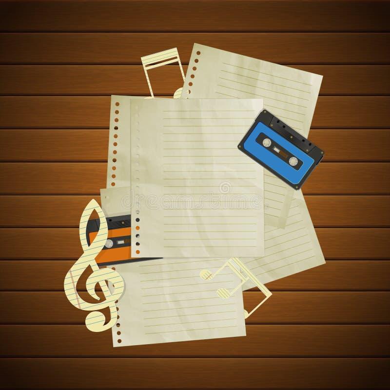 Musikalischer Hintergrund auf hölzernen Brettern und Notenenseiten stock abbildung