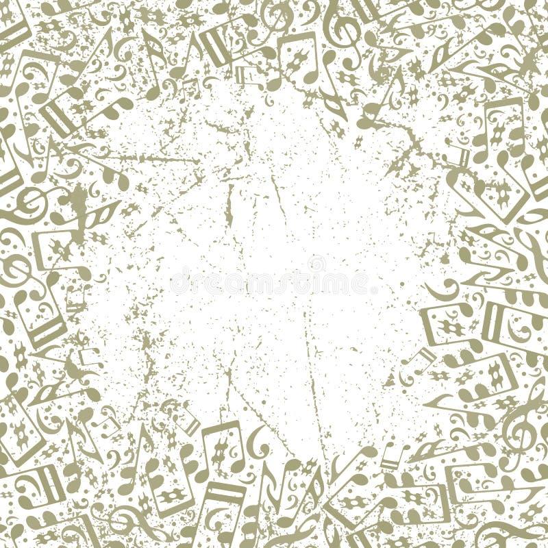Musikalischer Hintergrund der Weinlese mit Anmerkungen und Schmutzbeschaffenheit lizenzfreie abbildung