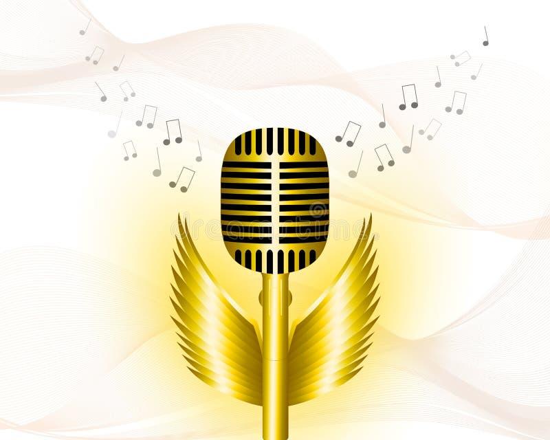 Musikalischer Hintergrund, mit Goldmikrofon lizenzfreie abbildung