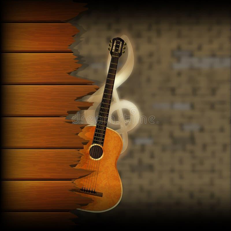 Musikalischer Hintergrund verwischte Backsteinmauer- und Holzplankengitarre stock abbildung