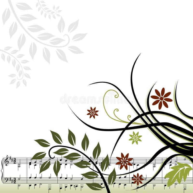 Musikalischer mit Blumenhintergrund vektor abbildung