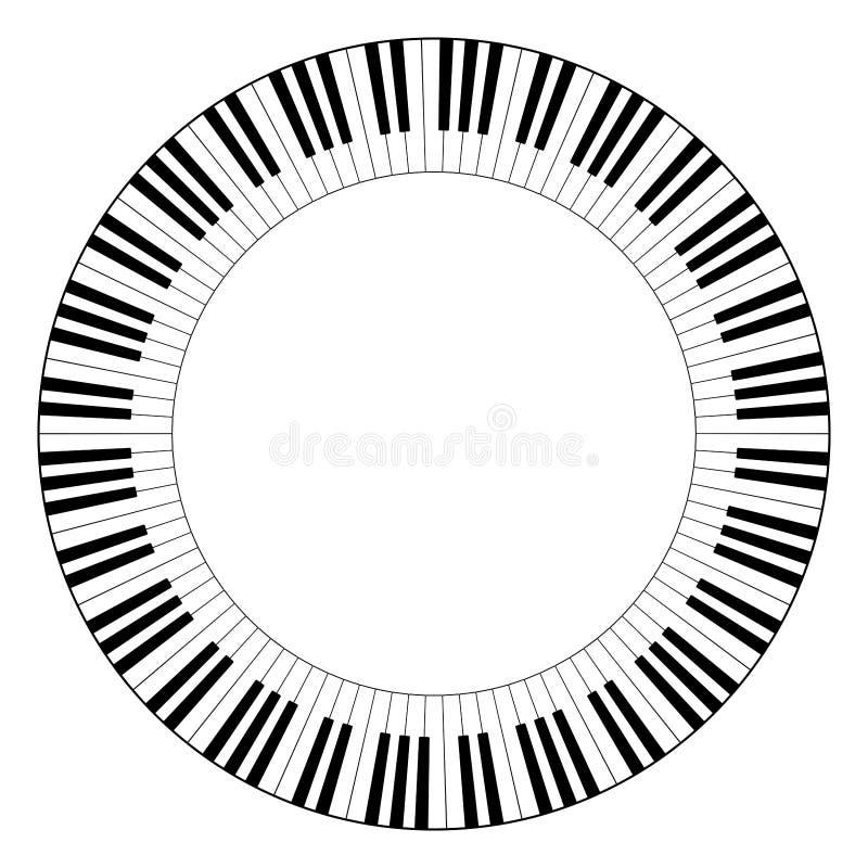 Musikalischer Tastaturkreisrahmen stock abbildung