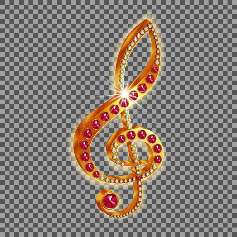 Musikalischer Violinschlüssel mit Edelsteinen lizenzfreie abbildung