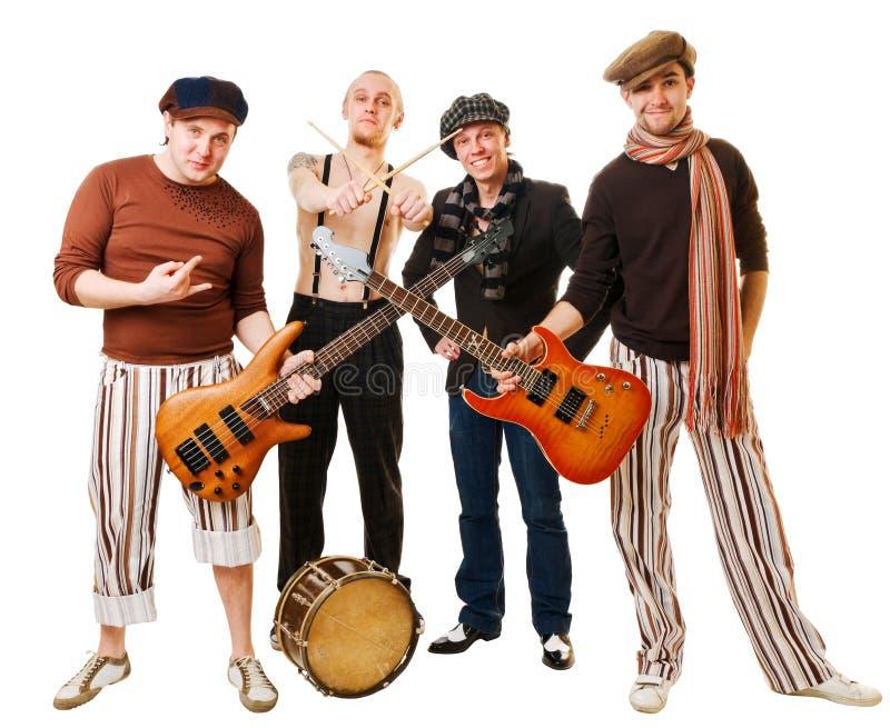 Musikalisches Band mit ihren Instrumenten auf Weiß stockfotos