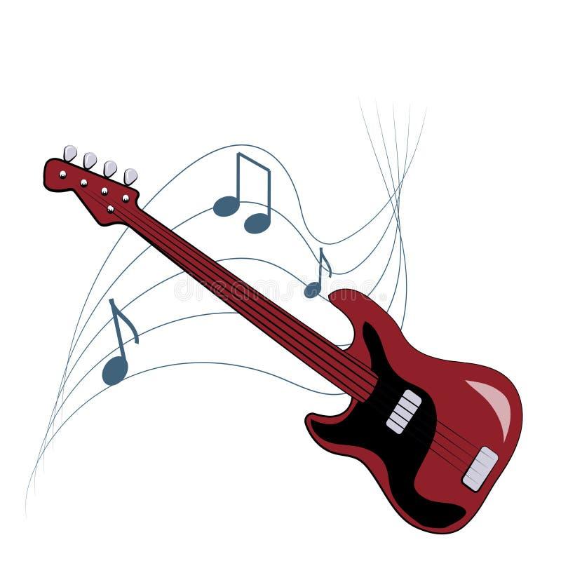 Musikalisches Emblem mit Gitarre und Anmerkungen über weißen Hintergrund lizenzfreie abbildung