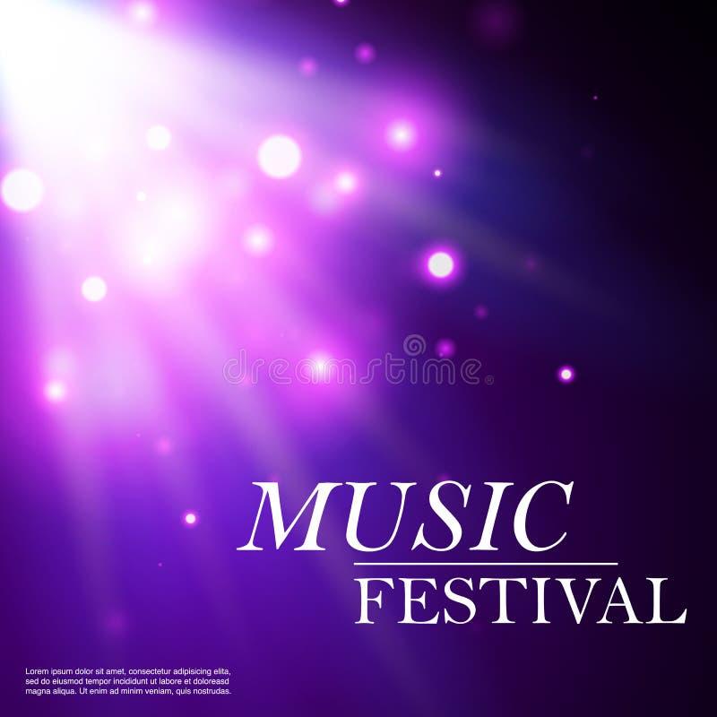 Musikalisches Festival Blaues Glühen von bokeh Partikeln Der Effekt des Glanzes Explosion mit Scheinen Helle Paillette und Sterne stock abbildung