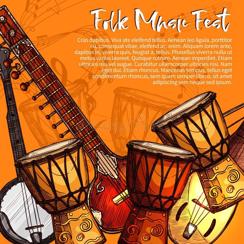 Musikalisches Festival des Volksmusikskizzenplakats vektor abbildung