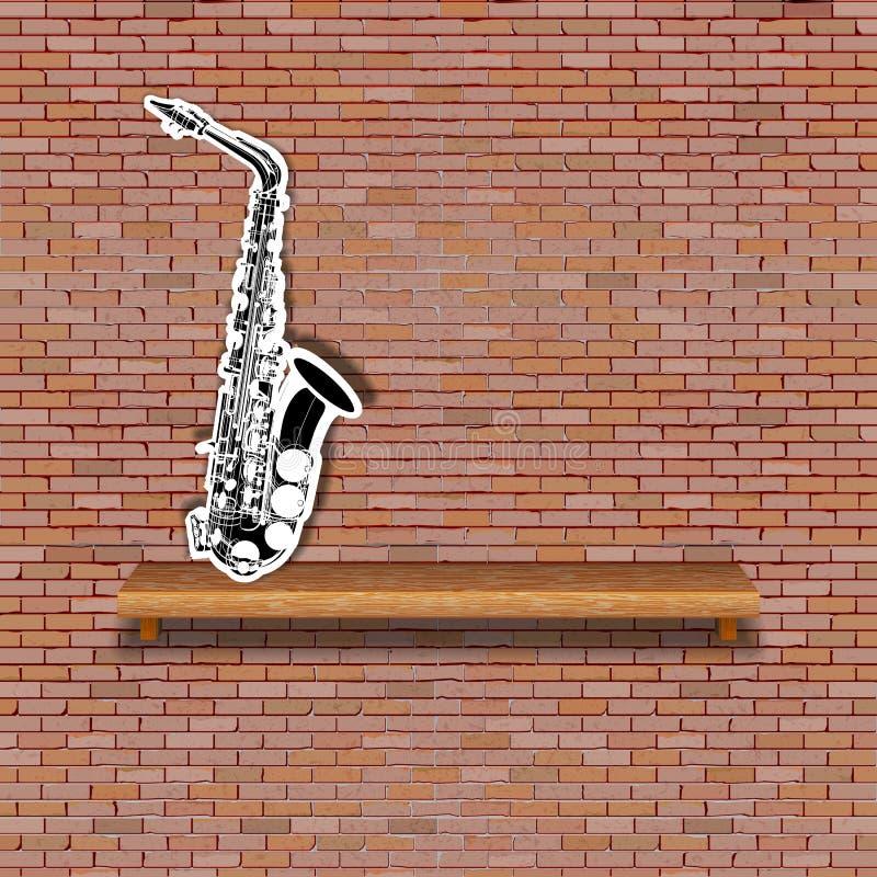 Musikalisches Hintergrundbacksteinmauer-Saxophonregal vektor abbildung