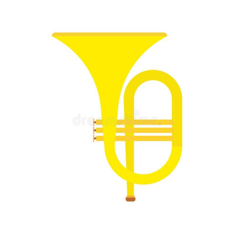 Musikalisches klassisches Orchester der Horninstrumentvektor-Ikone Akustische goldene Tuba der Blaskapellekarikatur Fanfarenausrü lizenzfreie abbildung