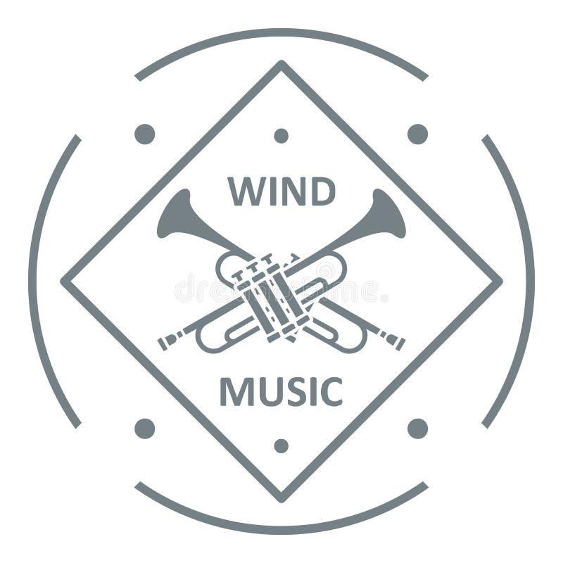 Musikalisches Trompetenlogo, einfache graue Art stock abbildung