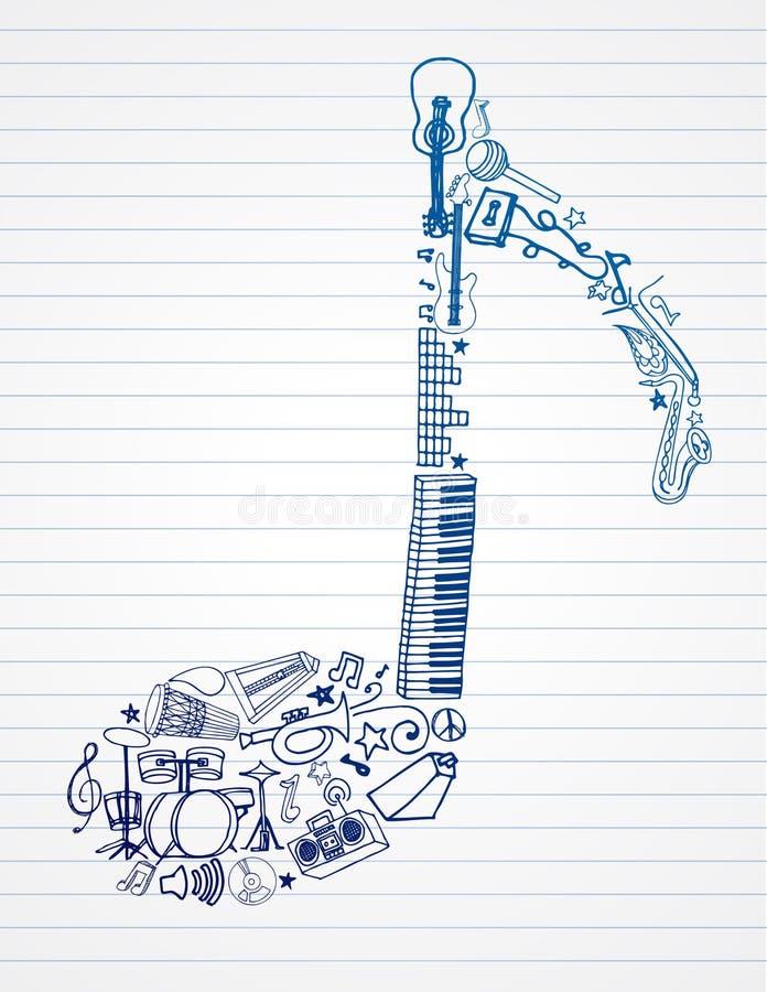 musikalisk anmärkning stock illustrationer