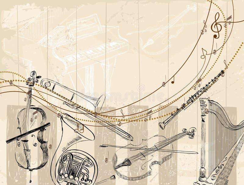 Musikalisk bakgrund royaltyfri illustrationer