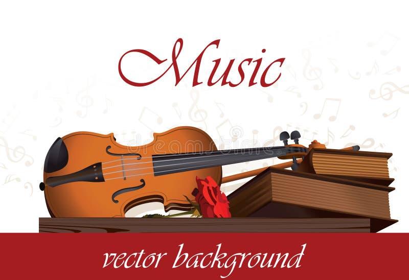 Musikalisk bakgrund med fiolen, b stock illustrationer
