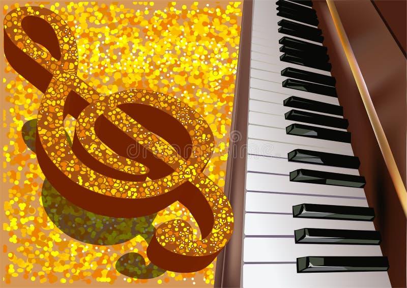 Musikalisk bakgrund med pianot stock illustrationer