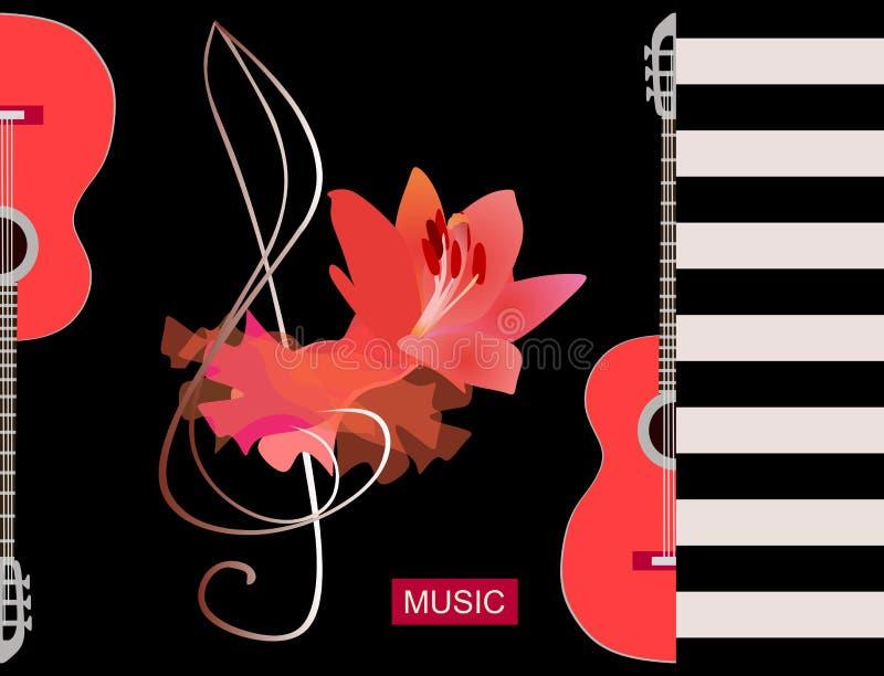 Musikalisk logo för flamenco Lyxigt rött stycke av torkduken, den stora liljablomman och konturhalvan av gitarrer på svart bakgru vektor illustrationer
