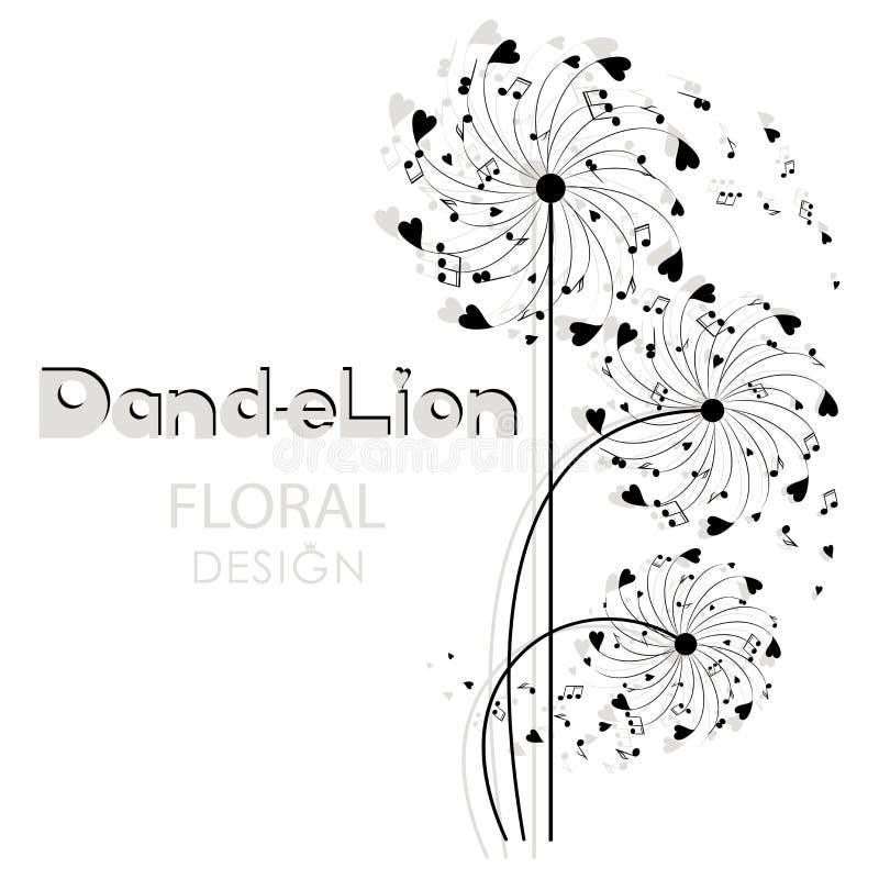 Musikalisk maskros illustration för design för bakgrundbakgrundskort blom- royaltyfri illustrationer