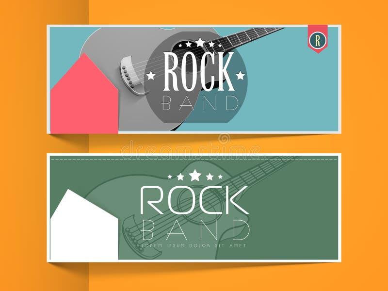 Musikalisk musikbandrengöringsduktitelrad eller baner vektor illustrationer