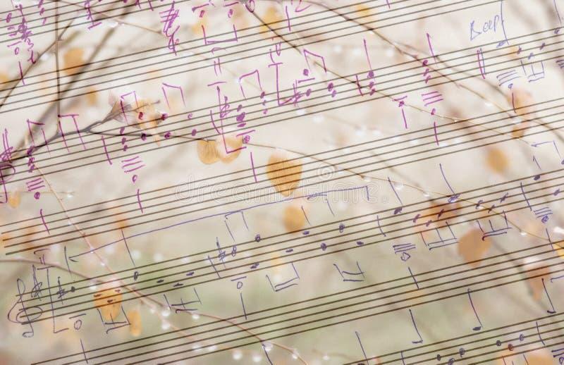Musikalisk och säsongsbetonad bakgrund royaltyfri bild
