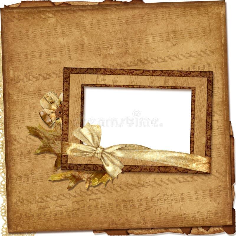 musikalisk paper fototappning för ramar royaltyfri illustrationer