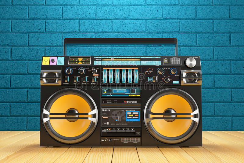 Musikalisk recoreder för bandspelare Spelare för tappningradioFM royaltyfri illustrationer