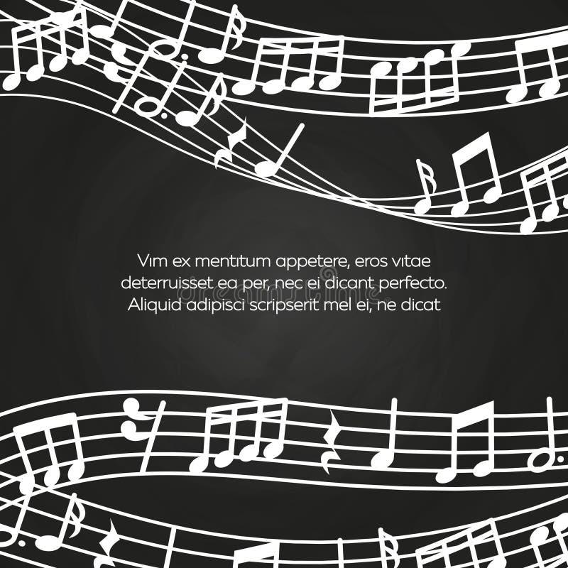 Musikalisk svart tavlabakgrundsdesign - den svart tavlan med musik noterar och vinkar vektor illustrationer