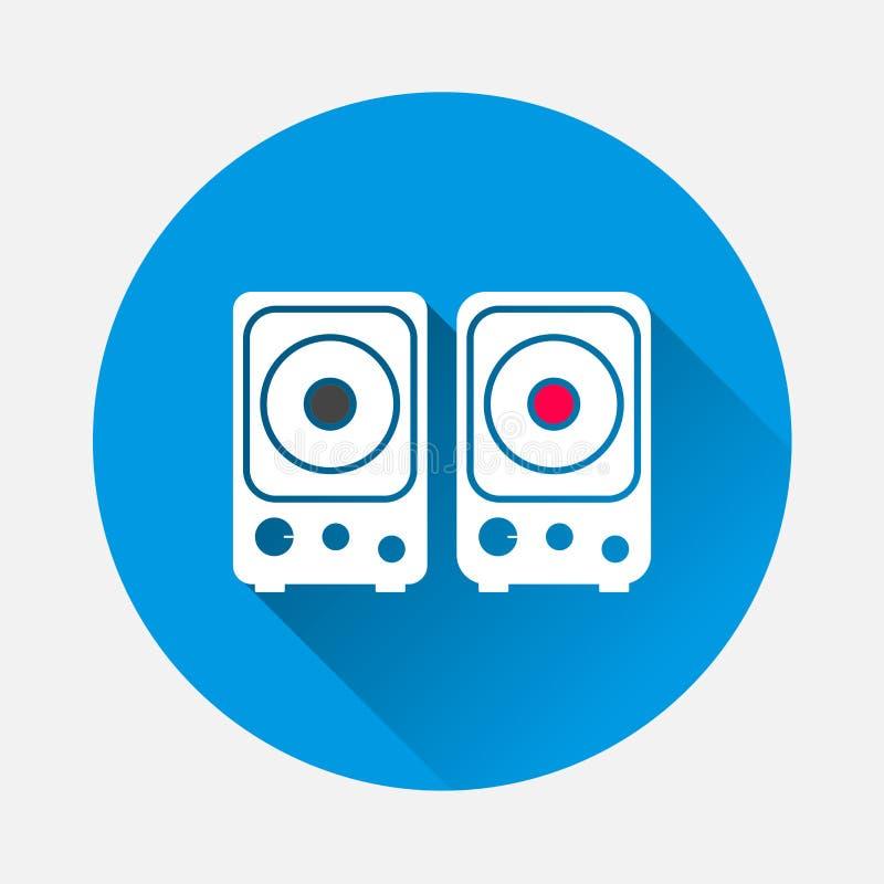 Musikalisk vektorsymbol för stereo- högtalare på blå bakgrund Plan ima royaltyfri illustrationer