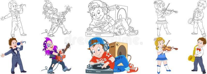 Musikalisk yrkeuppsättning för tecknad film royaltyfri illustrationer