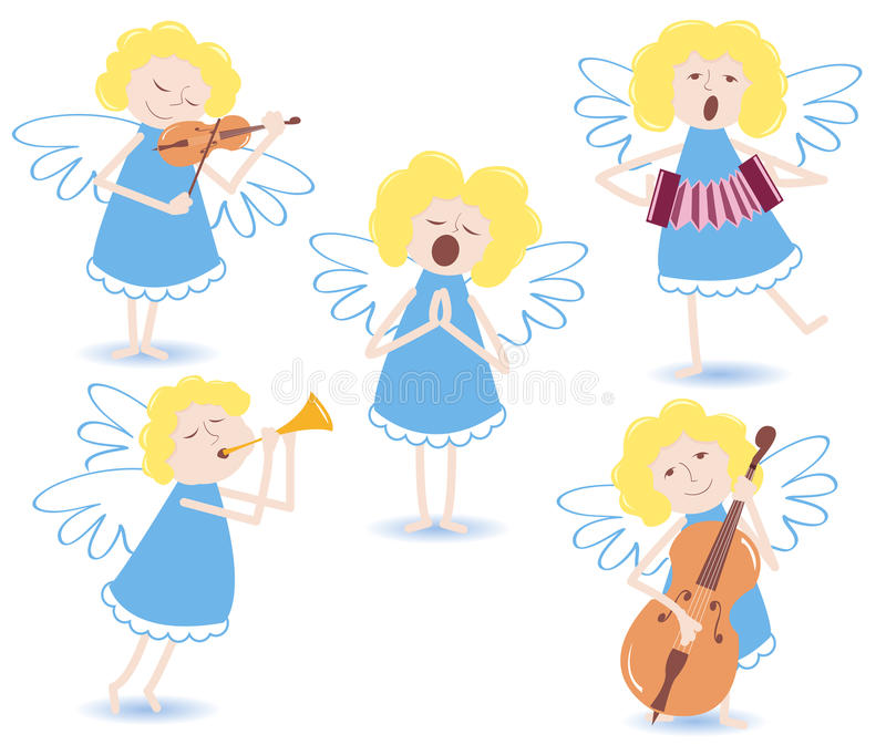 musikaliska änglar stock illustrationer
