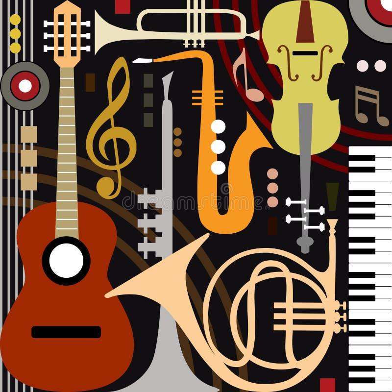 musikaliska abstrakt instrument royaltyfri illustrationer