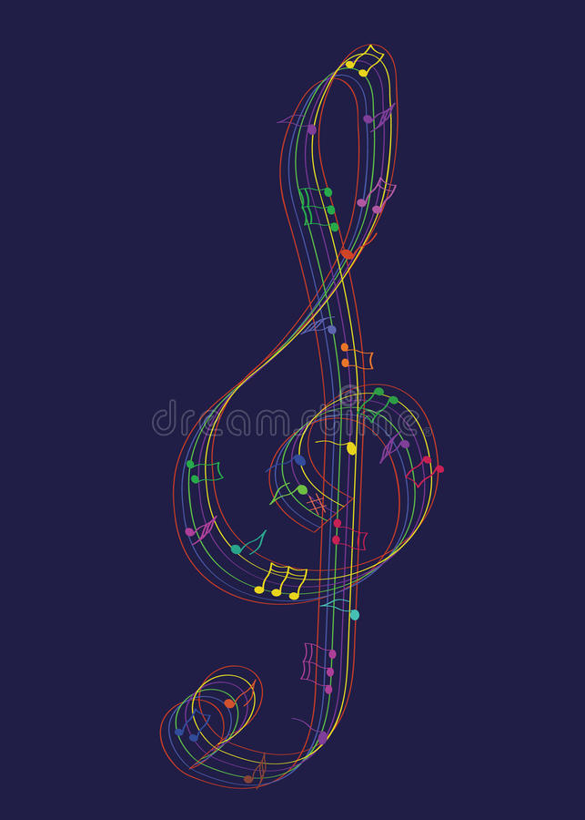 Musikaliska anmärkningar för regnbåge vektor illustrationer