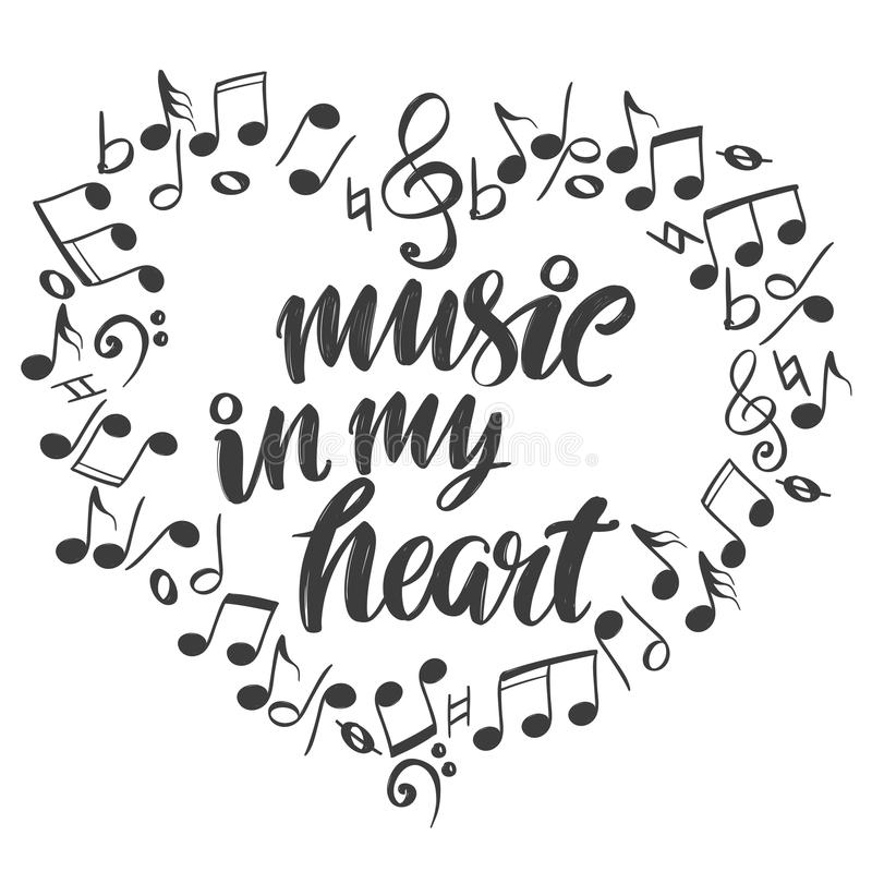 Musikaliska anmärkningar i form av en hjärtasymbol, förälskelsemusik, illustration för vektor för kalligrafitexthand dragen skiss vektor illustrationer