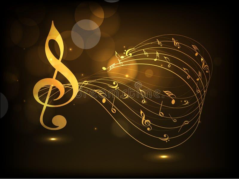 Musikaliska anmärkningar med vågen för musikbegrepp stock illustrationer