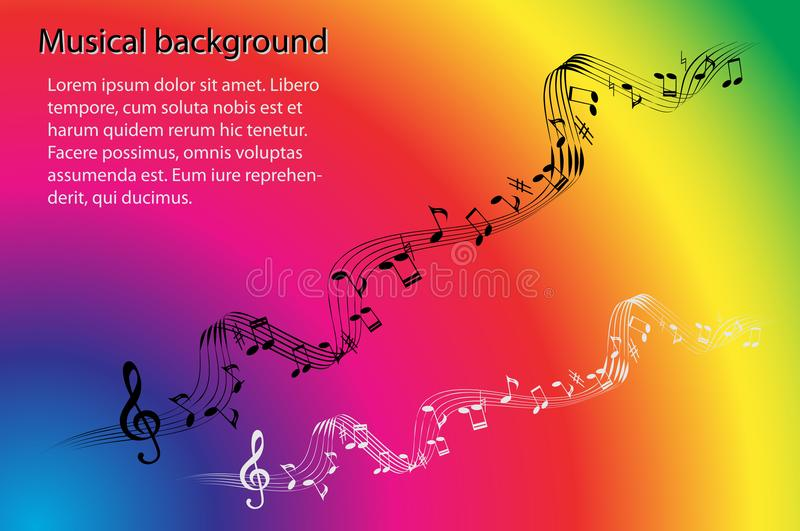Musikaliska anmärkningar och G-klav på en abstrakt regnbåge färgar bakgrund royaltyfri illustrationer