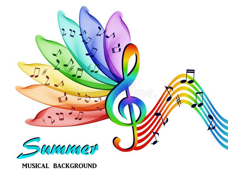 Musikaliska anmärkningar på en bakgrund av en abstrakt regnbåge blommar vektor illustrationer