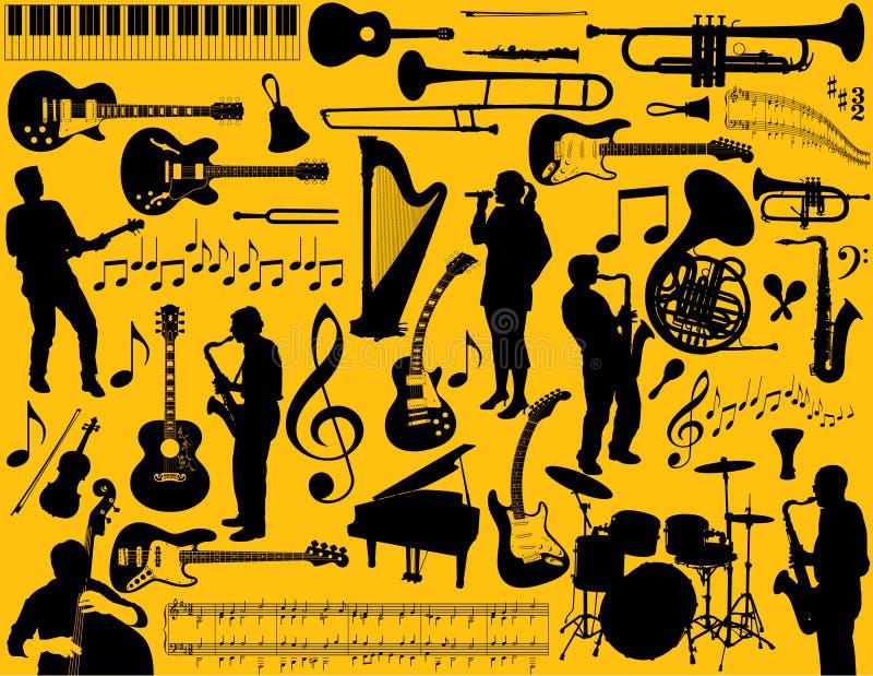 musikaliska instrument vektor illustrationer