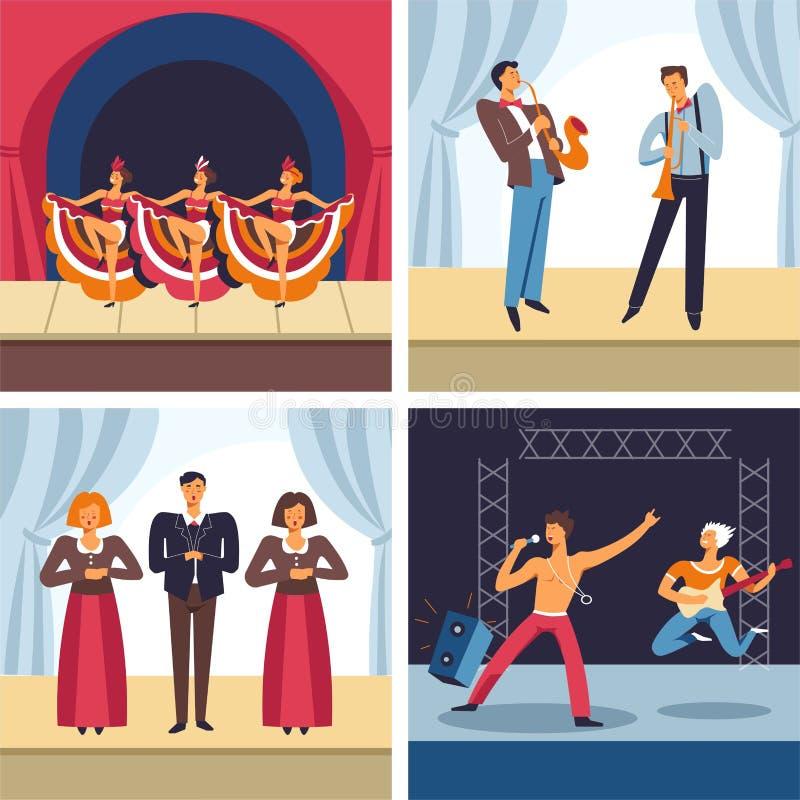 Musikaliska konserter, kabaret och jazz, opera och att vagga, musikgenrer stock illustrationer