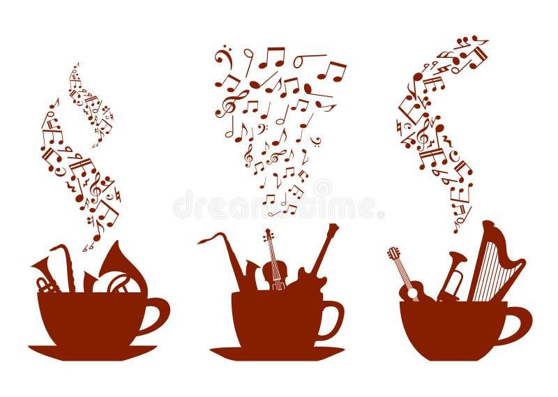 Musikaliska koppar kaffe stock illustrationer