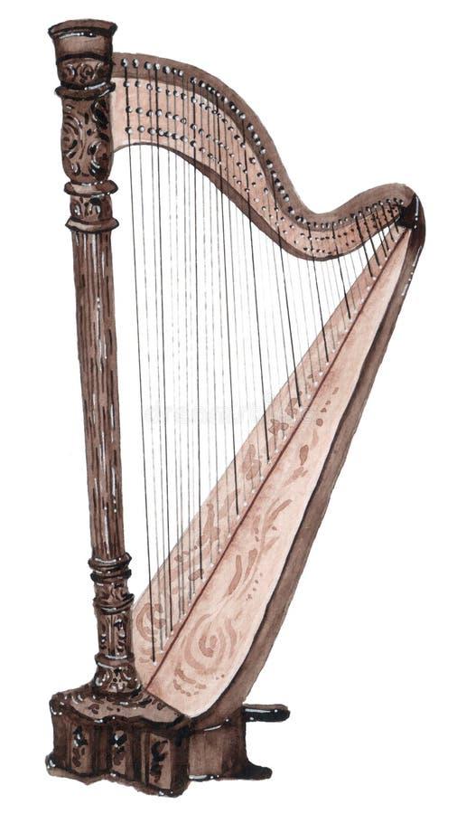 Musikaliska rader instrument, harpa som för vattenfärg isoleras på vit bakgrund arkivfoton